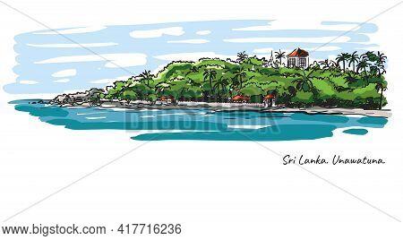 Sri Lanka Beach. Rest By The Ocean. Color Vector Illustration