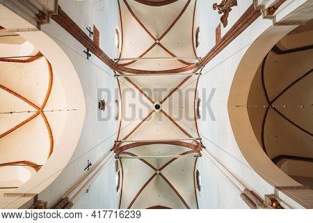Riga, Latvia - July 2, 2016: Riga, Latvia. Interior Of The Riga Dom Dome Cathedral. Ceiling