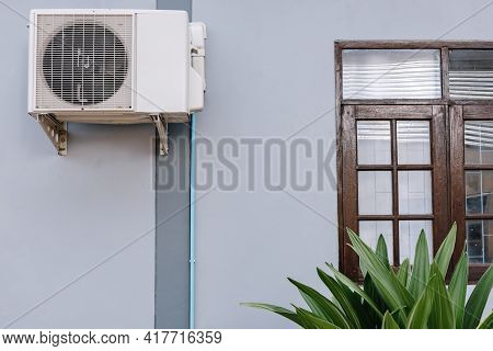 Home Cooling Air Condition Unit And Control System, Air Condenser Engine Station Outside Building Of