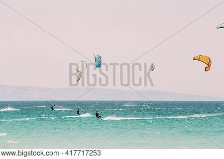 Tarifa, Spain - June 21, 2015: Kite Surfing In Tarifa, Spain. Tarifa Is Most Popular Places In Spain