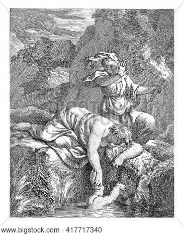 Rocky landscape with Thetis immersing Achilles in the Styx. Thetis is lying on a rock and behind her is a woman with a burning torch