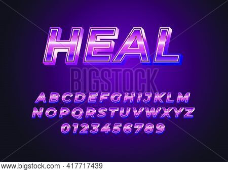 Shiny Violet Metallic Style Font Effect Template. Set Of Alphabet And Number With Metallic Look For