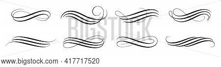 Set Of Vintage Calligraphic Flourish, Curls, Dividers, Scrolls And Swirls. Simple Design Elements. H