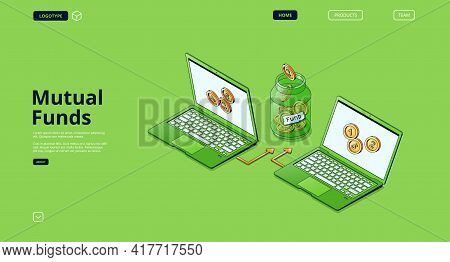 Mutual Fund Banner. Concept Of Finance Strategy Of Investment In Fund, Stock Instrument For Capital