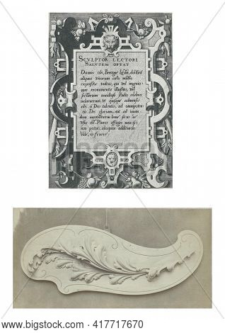 At the top a print with a cartouche of fittings in which a dedication to the reader is written, at the bottom a photo of an ornament in the form of a leaf