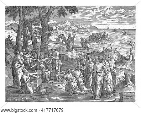 Christ multiplies the loaves and the fish among His disciples and spectators. In the background the Sea of Galilee, where fishermen in a boat cast their nets at Christ's command to catch fish