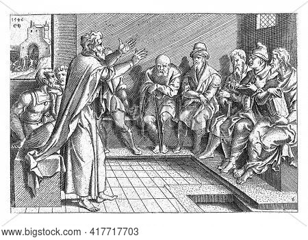 After his conversion and baptism, Paul preaches in the synagogues of Damascus. The Jews in Damascus distrust him and want to imprison him. They closed the city gates so that he cannot escape