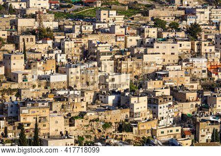 Arab neighborhood on the hillside in Jerusalem, Israel.