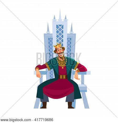 Happy Smiling King Character Sits On The Throne. Vector Flat Cartoon Illustration.