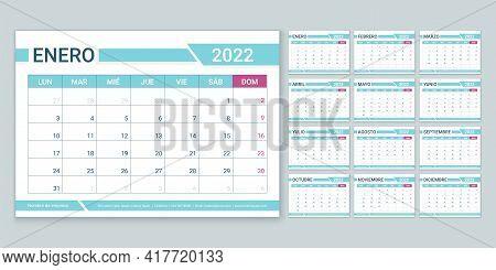 Spanish 2022 Year Calendar. Week Starts Monday. Planner Template. Vector. Table Schedule Grid. Yearl