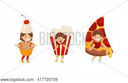 Cheerful Kids Wearing Fast Food Costumes Vector Set