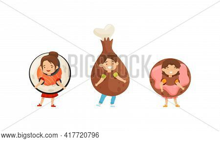 Little Boy And Girl Dressed In Sushi Roll And Chicken Leg Outfit Enjoying Fancy Carnival Vector Set