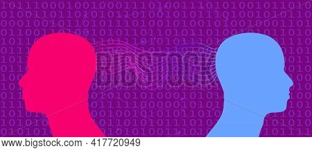 Human Relationships Concept Illustration. Digital Matrix Overlay