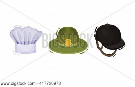 Professional Hats With Jockey Cap And Chef Toque Vector Set