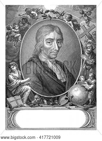 Portrait of the printmaker, painter and poet Jan Luyken. Above the oval with the portrait, a putto holds a laurel wreath. Other putti carry a cross, censer or burning hearts.