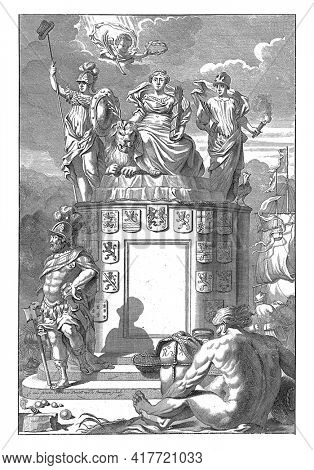 Allegory of the victorious Habsburg Netherlands: the Dutch Virgin sits enthroned on a pedestal with the coats of arms of the Seventeen Provinces, and is honored by an angel