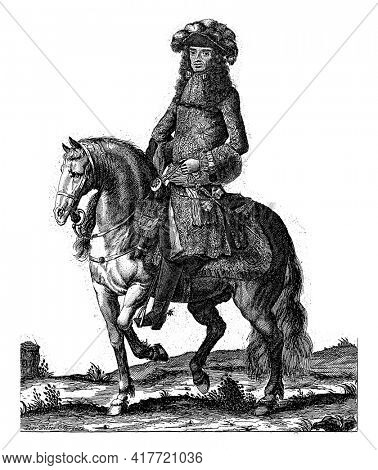Portrait of Charles II, King of England, on horseback. At the bottom of the margin are name and position in English.