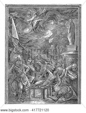 Saint Lawrence is on the grid. One man kindles the fire and another man brings wood. On the left a man poking Laurentius in the side with a long poker