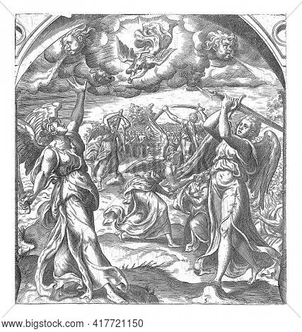 Four angels hold the four winds of the earth in check with swords. Another angel descends from heaven with a cross. He then blesses the foreheads of the good Christians with the seal of the living God