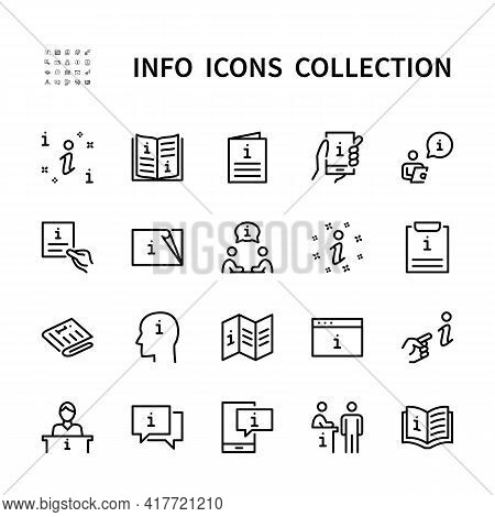 Information And Help Desk Vector Linear Icons Set. Business Info. Isolated Icon Collection On White