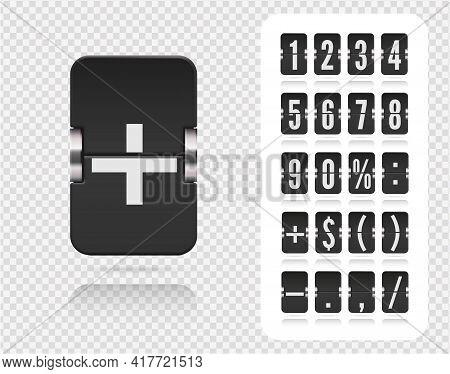 Analog Countdown Number Font. Vector Illustration Template. Floating Flip Number And Symbol Scoreboa