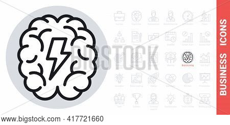 Brainstorm Or Brainstorming Icon. Human Brain With A Lightning Bolt Inside. Simple Black And White V