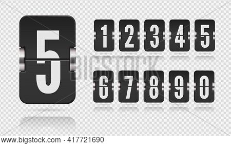 Set Of Flip Scoreboard Numbers Floating With Reflections. Vector Template For Design On Transparent