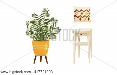 Room Interior Design Elements With Houseplant In Pot And Stool Vector Set