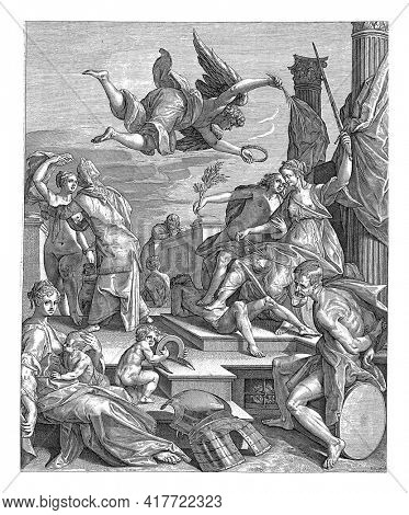 Justice and Peace,sit on a throne with their feet resting on a reclining naked man.Above them the Victory who wants to crown them.To the right Mars, sitting with his arms tied behind his back