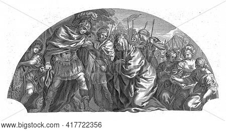 Darius's mother, Sisygambis, kneels before the victor Alexander the Great. Alexander reaches out to help her up, servants and soldiers watch. To the right are Darius' wife and his two daughters