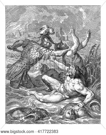 Achilles, standing in a river with raging water. In the foreground the river god Scamander, reaching for the arm of Achilles, who is about to stab a Trojan soldier with his sword