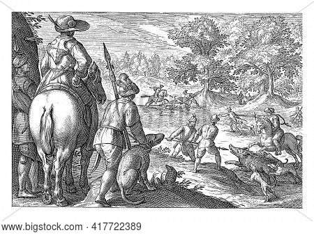 Hilly landscape with hunters and horsemen with spears hunting wild boars. In the left foreground, a rider, two men with spears and a dog, seen from the back