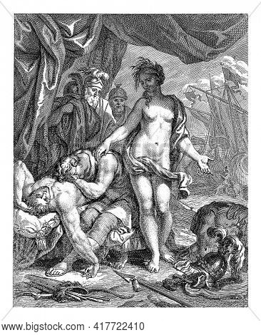 Achilles leans, grieving, on the dead body of his friend Patroclus. Next to them is Thetis, comfortingly, with her hand on Achilles' shoulder