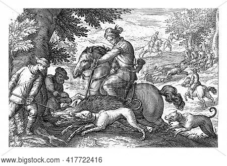 Landscape with a rider, two men and three dogs catching a wild boar in the foreground. In the background several hunters and horsemen with spears hunting wild boars