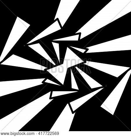 Graphic Shapes Triangle Swirling In Loop. Black And White Shapes That Create Illusion Of Movement