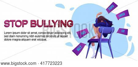 Stop Bullying Cartoon Banner, Teen Girl Crying Sitting On Chair Covering Face After Being Bullied An