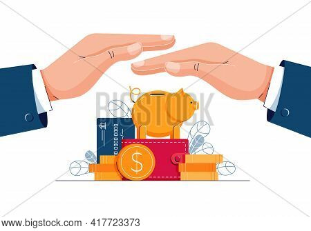 Financial Coverage Concept. Business Hands Are Protectinging Money From Danger. Secure Investment, F