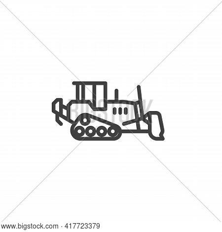 Loader Bulldozer Line Icon. Linear Style Sign For Mobile Concept And Web Design. Bulldozer Excavator