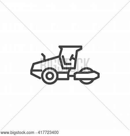Road Roller Line Icon. Linear Style Sign For Mobile Concept And Web Design. Asphalt Roller Machine O