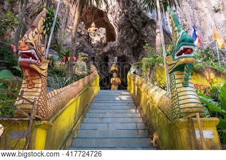 View Before Entering Wat Tham Phra Cave (buddha Cave) An Iconic Archaeology Cave Temple With Over 80