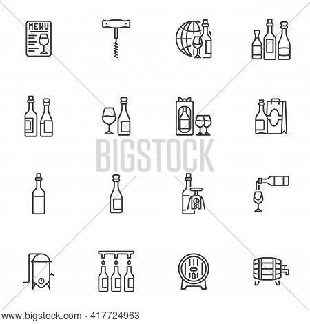 Winery Wine Line Icons Set, Outline Vector Symbol Collection, Linear Style Pictogram Pack. Signs, Lo
