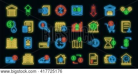 Lease Icons Set. Outline Set Of Lease Vector Icons Neon Color On White