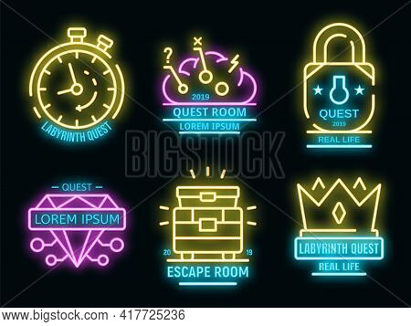 Quest Game Icons Set. Outline Set Of Quest Game Vector Icons Neon Color On White
