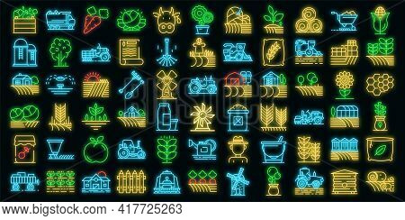 Farmer Icons Set. Outline Set Of Farmer Vector Icons Neon Color On White