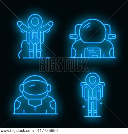 Astronaut Icons Set. Outline Set Of Astronaut Vector Icons Neon Color On White