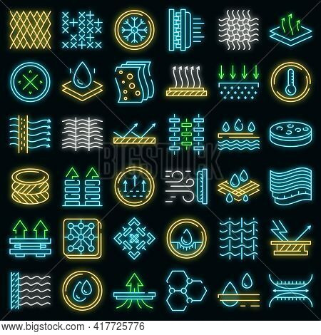 Fabric Feature Icons Set. Outline Set Of Fabric Feature Vector Icons Neon Color On White
