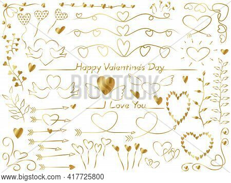 Set Of Vector Gold Graphic Elements For Valentine's Day, Bridal, And Wedding. Easy To Use Illustrati