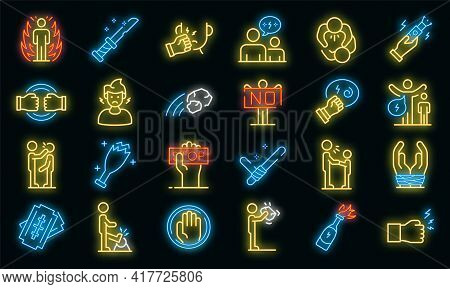 Violence Icons Set. Outline Set Of Violence Vector Icons Neon Color On White