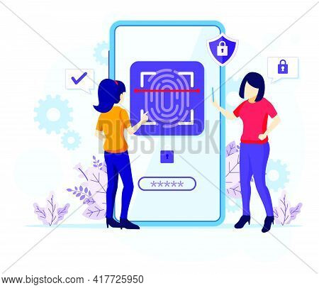 Fingerprint Recognition Technology Concept, Women Trying To Access Her Mobile Phone With Biometric A