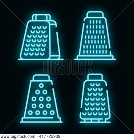 Grater Icons Set. Outline Set Of Grater Vector Icons Neon Color On Black